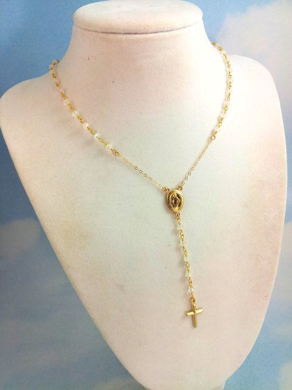 Moonstone Rosary Necklace Womens 14kt Goldfilled Cross ...