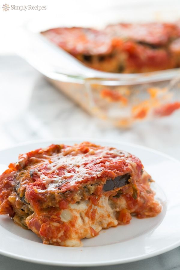 Best Eggplant Parmesan Casserole! With globe eggplant, fresh mozzarella, parmesan, and tomato sauce. #Vegetarian #Italian On SimplyRecipes.com
