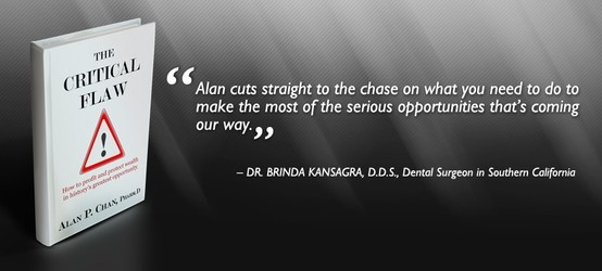 """Thank you R. Brinda Kansagra for providing an endorsement for """"The Critical Flaw: How to profit and protect wealth in history's greatest opportunity"""". Your effort is much appreciated.  Read our latest endorsements and reviews on www.thecriticalflaw.com! Enjoy!"""