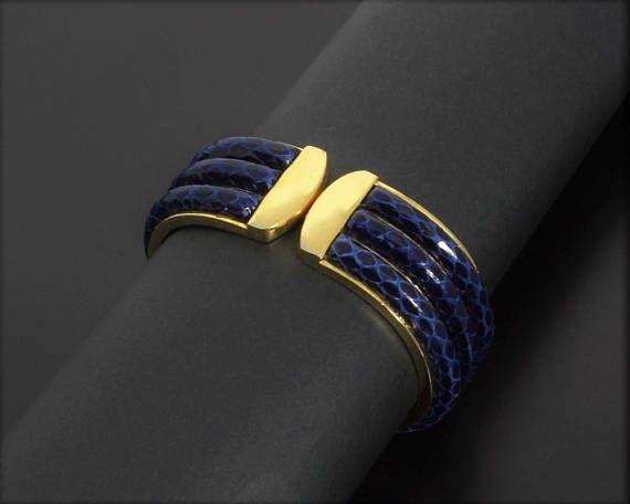 Sophisticated Vintage 1980s Wide Hinged Cuff Bracelet Triple