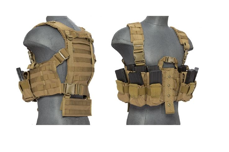 Lancer Tactical Airsoft M4 Chest Harness MOLLE Rig - TAN | Airsoft Megastore