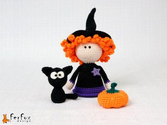 Halloween decor - Halloween Witch, black cat, Halloween pumpkin, crochet Halloween doll