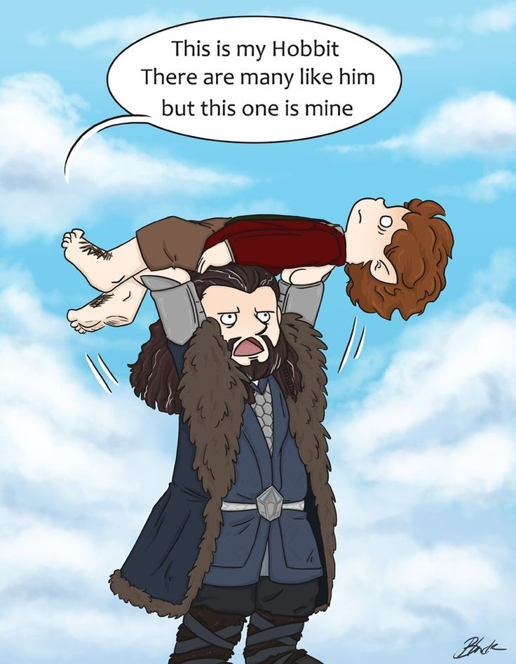 Funny!  Drawn by caycowa ...  dwarf, The Hobbit, Tolkien, Bilbo Baggins, Thorin Oakenshield, Bilbo, Thorin, hobbit