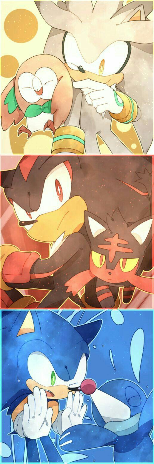Silver, Rowlet, Shadow, Litten, Sonic, Popplio, cute, Sonic the Hedgehog, Pokémon, crossover; Anime
