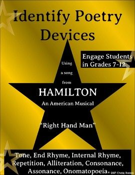 "Engage students in poetry by using the extremely popular musical Hamilton!Practice identifying poetry devices using the lyrics of the Hamilton song ""Right Hand Man."" Students need to be familiar with the following poetry devices: tone, repetition, end rhyme, internal rhyme, consonance, assonance, alliteration, and onomatopoeia.The download contains a link to the Google Doc assignment and ANSWER KEY.If you notice any errors or encounter any problems, please let me know so that I can make…"