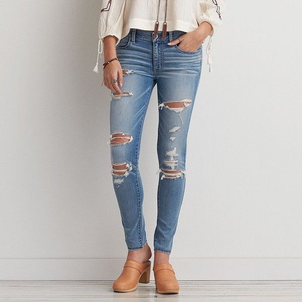 Jegging (Jeans) ($50) ❤ liked on Polyvore featuring jeans, vintage teal destroyed, ripped jeans, destructed jeans, frayed jeans, faded jeans and american eagle outfitters