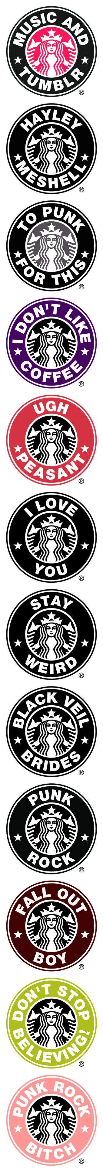 """Starbuck Logos"" by sbeathard ❤ liked on Polyvore featuring fillers, words, pictures, quotes, starbucks, text, phrase, saying, circle and backgrounds"