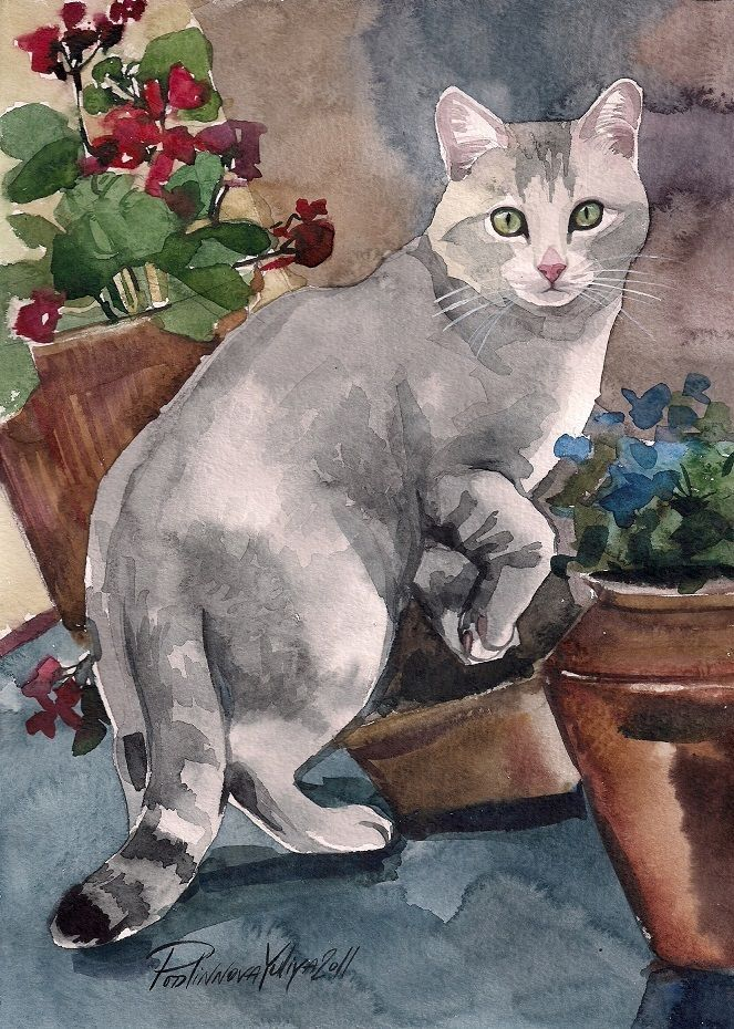 "#realism A limited edition (50) giclée print of the original watercolor painting ""CAT AMONG THE FLOWER POTS"" by Yuliya Podlinnova. I think this painting must be one of the top five repins from my page. It is a lovely image. I enjoy it every day on my wall. From My Private Collection."