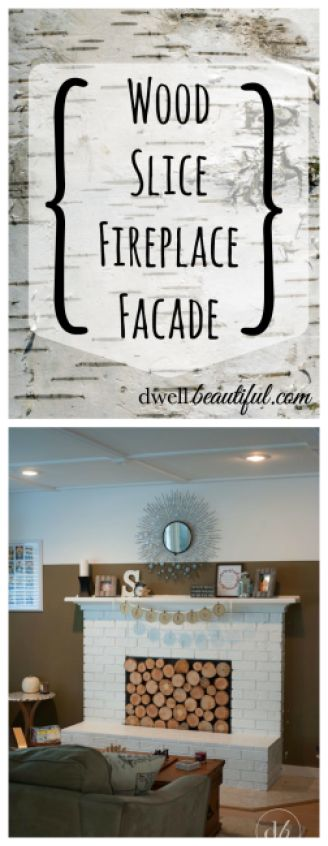 Wood Slice Fireplace Facade and 12 other FAB wood slice projects! #monthlyDIYchallenge #OAMCrafts | Dwell Beautiful