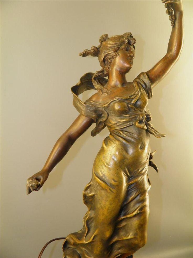 Antique French L Amp F Moreau Figural Bronzed Spelter Statue
