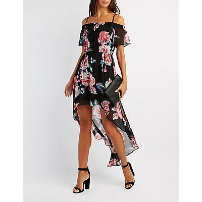 Floral Cold Shoulder High-Low Maxi Dress