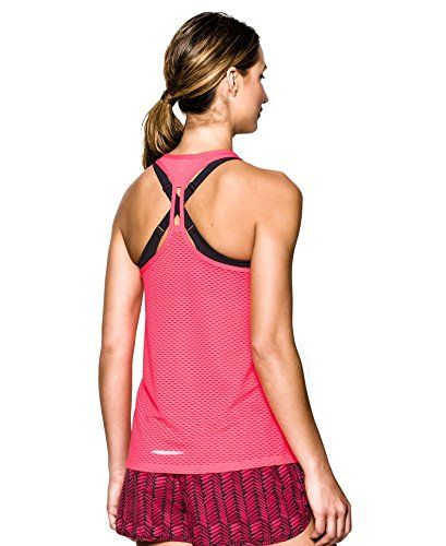 Under Armour Womens UA FlyBy Stretch Mesh Tank Medium PINK SHOCK >>> Check out the image by visiting the link.