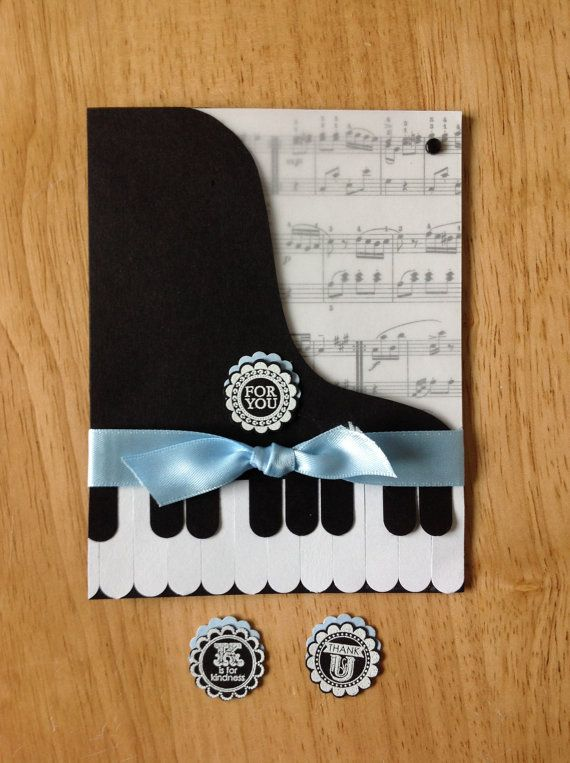 Stampin Up handmade thank you, all occasion card - grand piano - blue with music on Etsy, $4.50