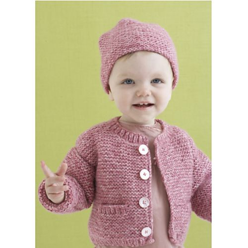 This matching sweater and hat set is warm and cozy. (Lion Brand Yarn)