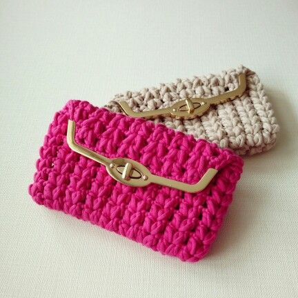 1000 images about bolso monedero crochet trapillo for Bolso crochet trapillo
