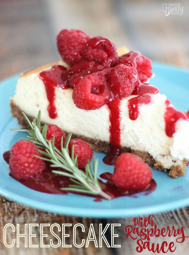 This Cheesecake with Raspberry Sauce is the most decadent, tasty dessert I have had this holiday season! I was nervous about trying a homemade cheesecake for the first time, but this was so easy and turned out so well!