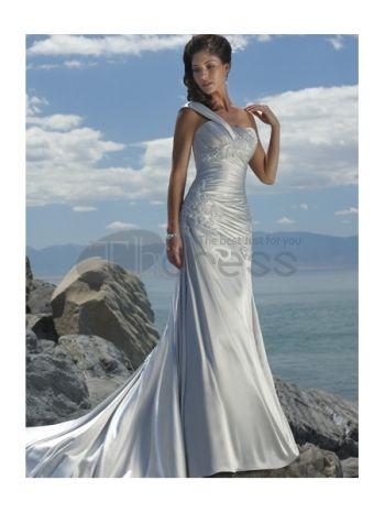 Abiti da Sposa Spiaggia-Una spalla cinghia pizzo scollatura abiti da sposa spiaggia