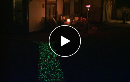 Transform your driveway or walkway.  COREglow. Eco-friendly glow in the dark pebbles and aggregates.