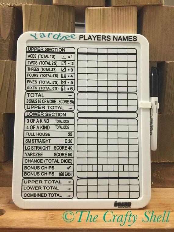 Yardzee Score card- lawn yahtzee score card