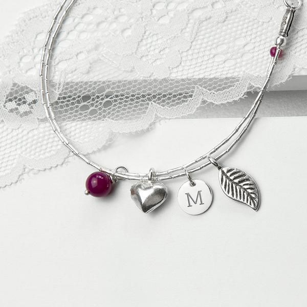Women's Sterling Silver Personalised Friendship Bracelets Multicoloured (Indian Ruby Shown)