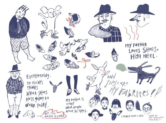 People in Shoes 작업 과정- 잉크 작업 - 캐릭터디자인, 드로잉, 일러스트