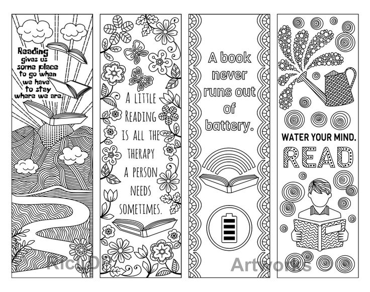 Set Of 8 Coloring Bookmarks With Quotes About Books And
