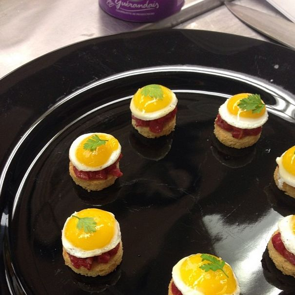 beef tartare with quail egg catering canapes canape