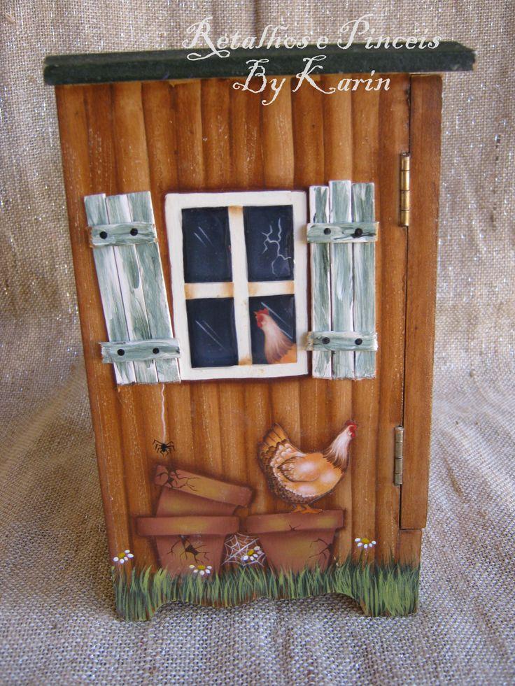 Pintura folk. porta ovos galinha.