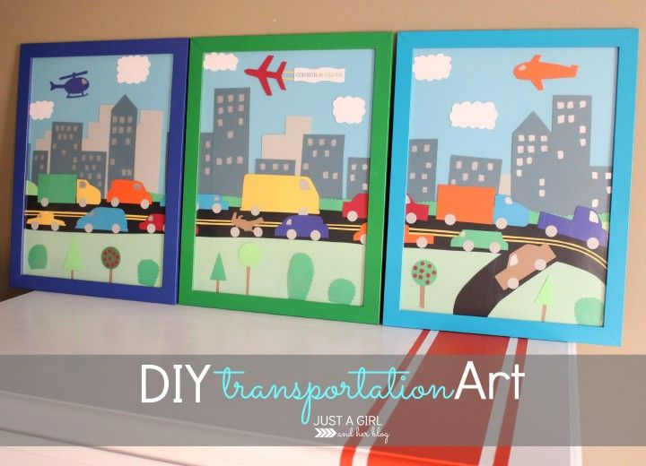 CUTE DIY transportation art for a boy room!   Just a Girl and Her Blog
