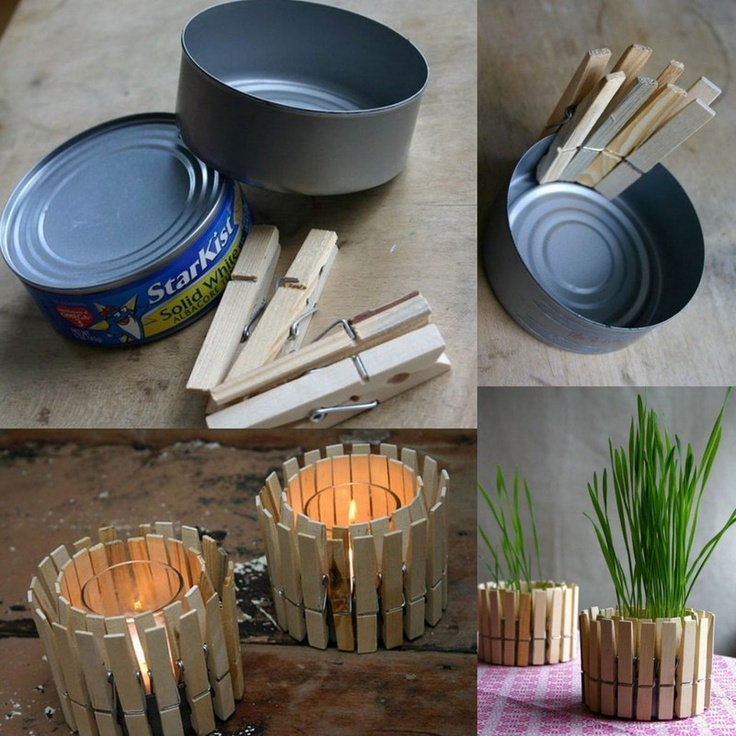 clothespins on a tuna can, can make a bunch, also for a planter