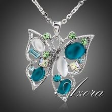 AZORA Platinum Plated Multicolor Stellux Austrian Crystal Butterfly Jewelry Pendant Necklace TN0100(China (Mainland))
