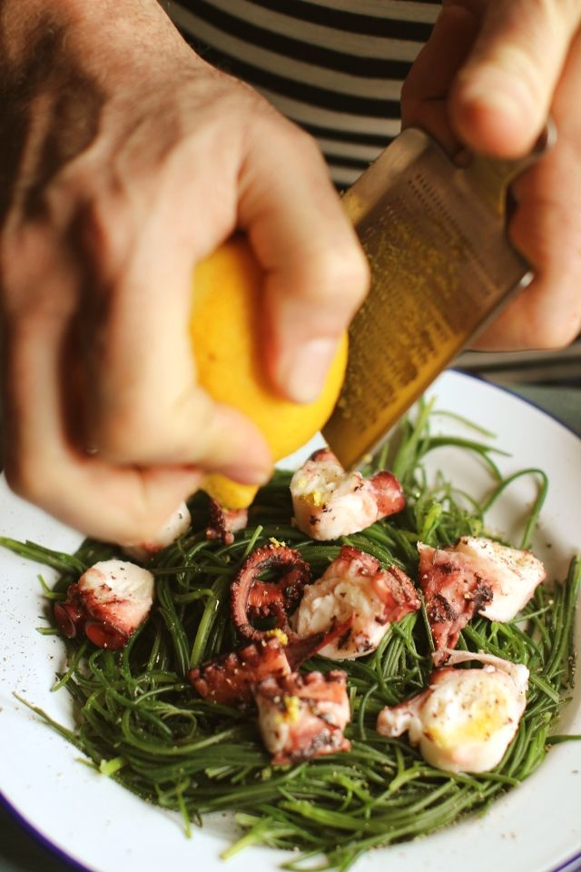 Octopus lemon agretti| London bridge- octopus is labor intensive to prepare if you're doing it from scratch.  I've heard there is a washing machine tenderizing method that  is widely discouraged at public laundromats throughout the Mediterranean and much of Asia.