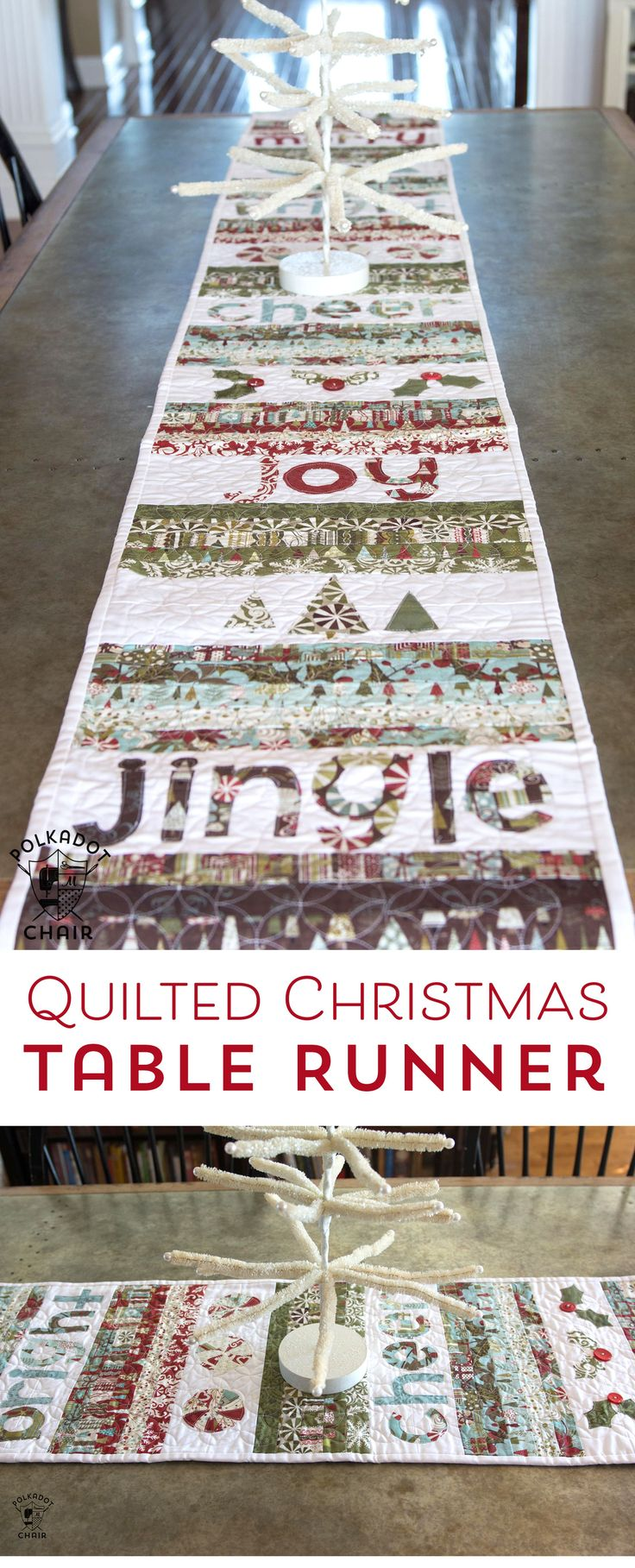 Free sewing pattern for a quilted Christmas Table runner