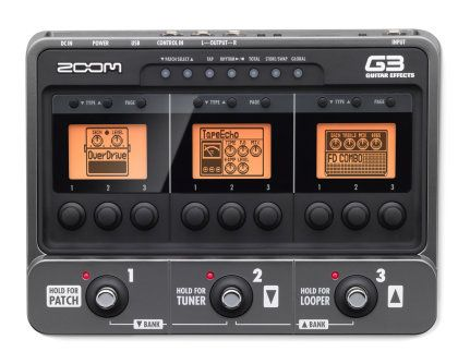Zoom G3 Guitar Multi-Effects Pedal: Create a complex sound with this guitar pedal from Zoom. Includes a drum machine, USB interface, and three large LCD displays.