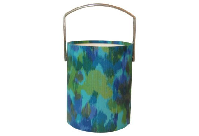 Midcentury Turquoise Ikat Ice Bucket