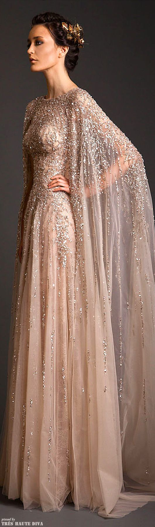 Can't get enough of this! Would love it in a cream with gold beading for a wedding gown!! - Jabotian, Couture S/S 2014