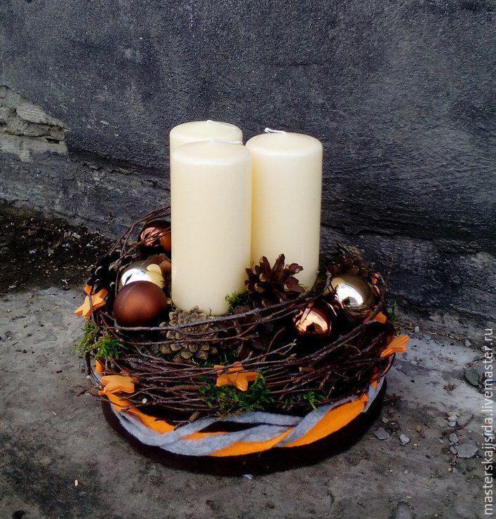 """Купить Новогодняя композиция со свечами """"Волшебный лес"""" - коричневый, Новый Год, новый год 2017"""