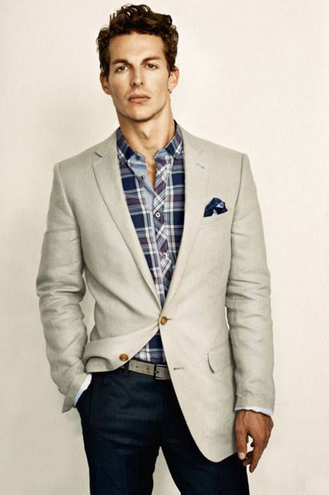 A tan blazer & a printed button down are the perfect combination for a fresh summer look... For a more casual look.
