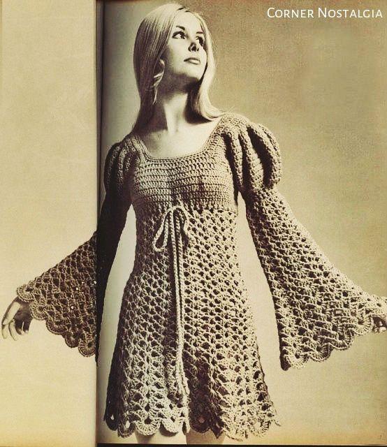 Crochet Pdf Pattern - Vintage Ladies Juliet Style Dress - 70s Sizes: Misses' 8 (…