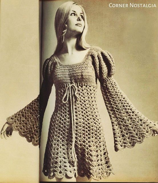 "Crochet Pdf Pattern - Vintage Ladies Juliet Style Dress - 70s Sizes: Misses' 8 ( 10-12-14-16-18) dress width around underarms, 34"" (35""-…"