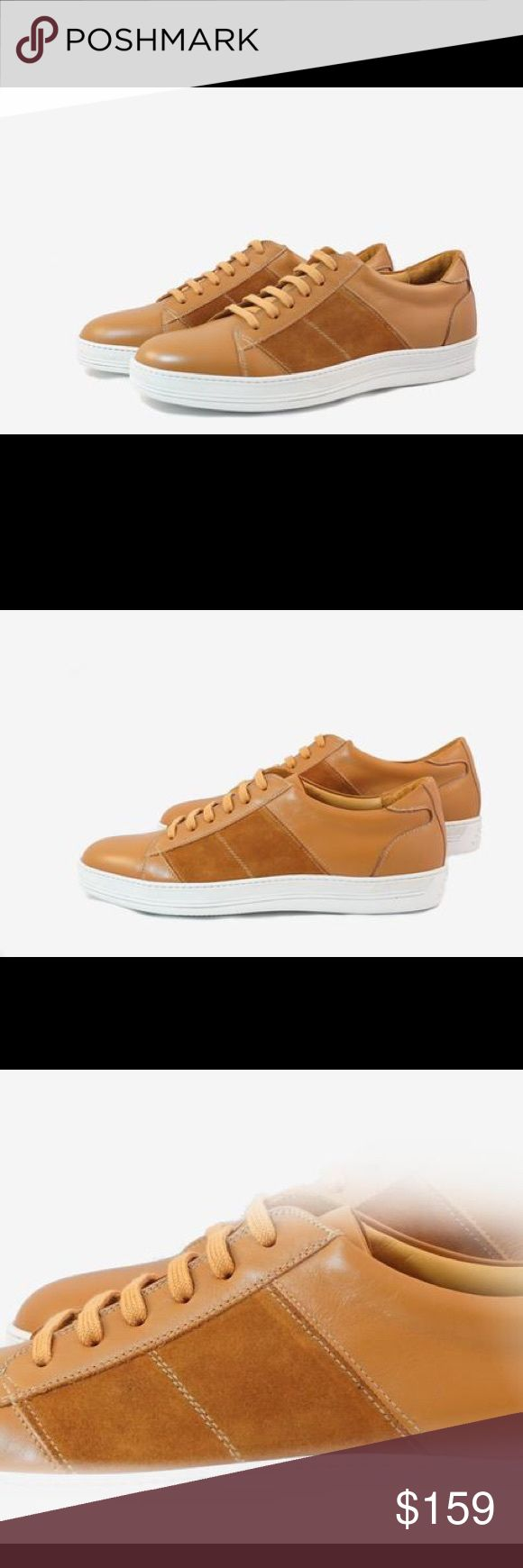 Men Low Top Brown Leather Sneakers. NWT Eye-Catching The design of this sneaker has a distinctive look making it highly recognizable for the use of two leathers and comfort. A beautiful shade of brown calf leather hand picked from our artisans in the small town of Montegranaro, Italy famously known for it's quality of leather.  Stripes of soft suede in calf on both sides perfectly stitched making it stand out in an elegant way.  Dark Beige leather insole and white rubber sole. Germano…