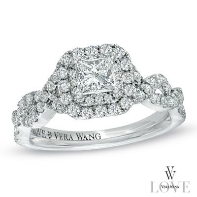I've tagged a product on Zales: Vera Wang LOVE Collection 1 CT. T.W. Princess-Cut Diamond Double Frame Twist Engagement Ring in 14K White Gold