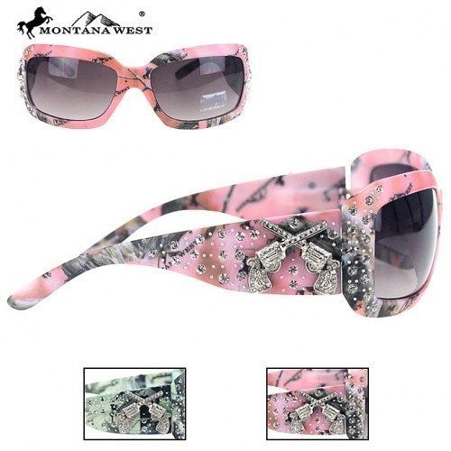 MONTANA WEST CAMO SUNGLASSES CROSSED GUNS RHINESTONES WESTERN COWGIRL LADIES #MONTANAWEST #Square
