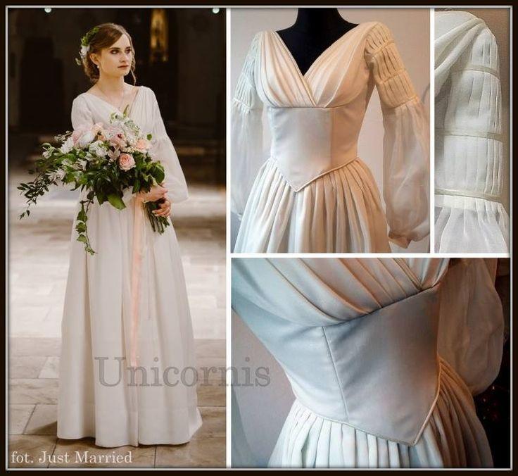 Wedding dress inspired by 1840s, mady by Unicornis.
