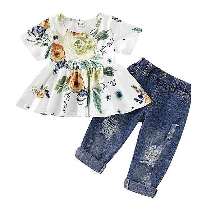 Infant Toddler Kids Baby Girls Ruffled Outfits Tops Shirts Denim Pants Clothes