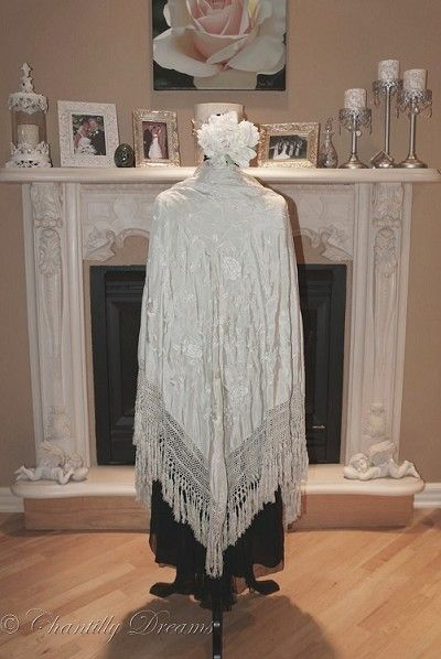 Heavenly Antique Hand Embroidered Silk Roses Fringed Piano Shawl Circa Early 1900s