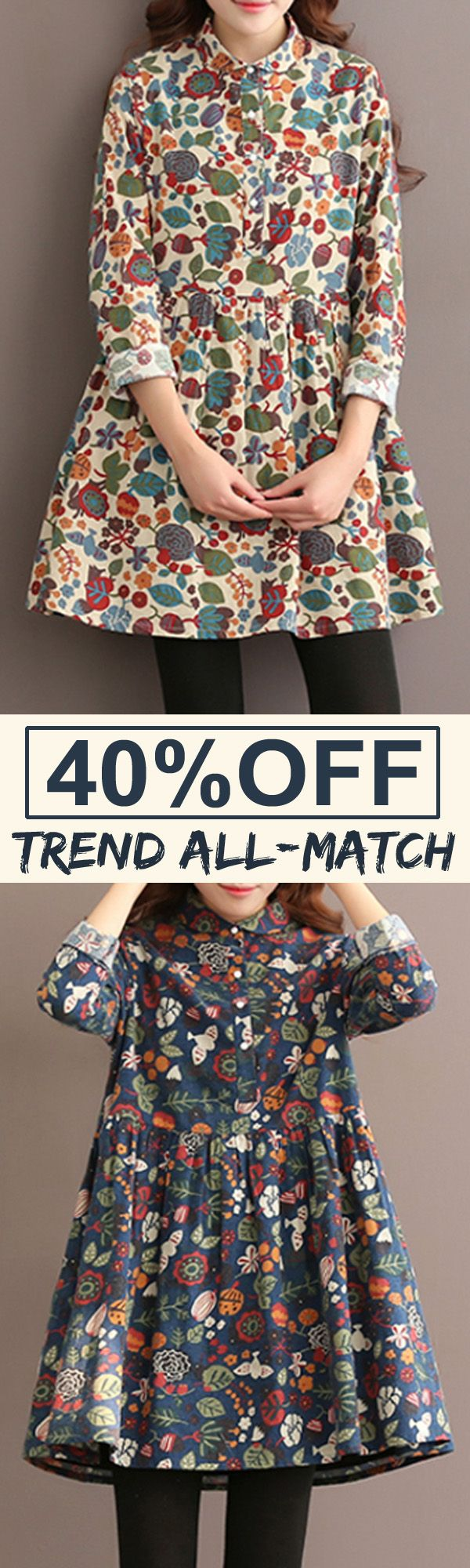 40%OFF&Free shipping. Vintage Women Floral Printed Single-Breasted Long Sleeve Dresses. Color: Off White, Light Blue, Dark Blue. Size:S-5XL. Shop now~