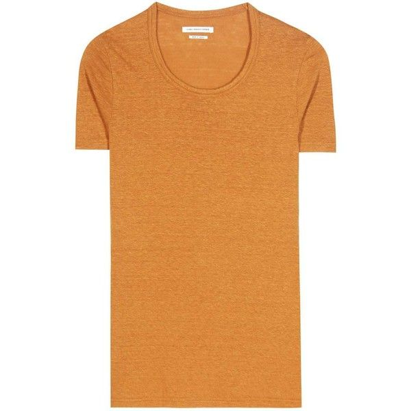 Isabel Marant, Étoile Kiliann Linen T-Shirt ($108) ❤ liked on Polyvore featuring tops, t-shirts, orange, short-sleeved, orange top, beige t shirt, linen tops, orange tee and linen t shirt