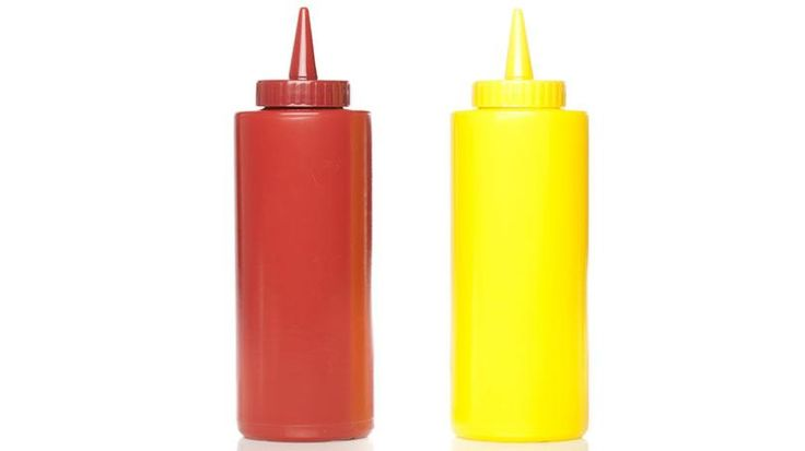 Plastic squeeze bottles are sold as containers for ketchup and mustard - perfect for an outdoor barbecue.