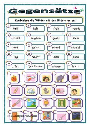 Schüler kombinieren Adjektive und Bilder. - DaF Arbeitsblätter